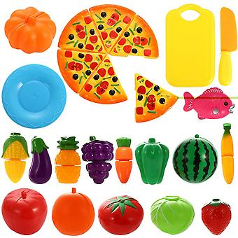 24pcs Plastic Cutting Fruit Vegetable Pizza Food Kids Role Play Toy Gift (colorful)