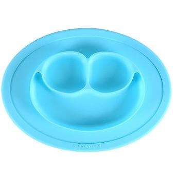 Smiley Dinner Plate Baby Children's Dinner Plate Food Grade Silicone Food Supplement(Blue1)