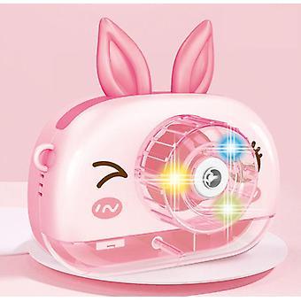 Les enfants utilisent l'appareil-photo de machine de bulle, envoient l'eau de bulle, les cadeaux portatifs de jouet de machine de bulle (garçons, filles, anniversaires, mariages, jeux extérieurs et d'intérieur rose)