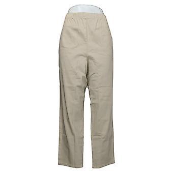 Denim &co. kvinners petite bukser original midje sidelomme beige A375348