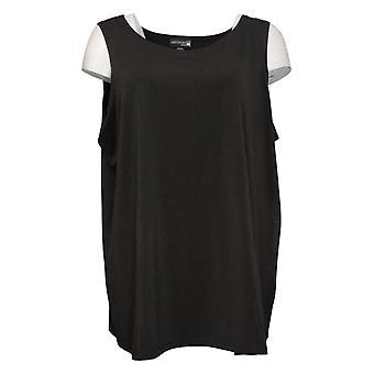 Antthony Women's Plus Top Easy Scoop Neck Solid Tank Black 716476