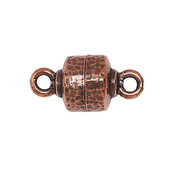 TierraCast Magnetic Clasps, Hammertone 9x18mm, 1 Set, Antiqued Copper Plated