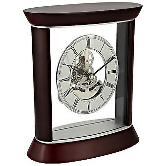 David Peterson Skeleton Quartz Clock - Silver/Dark Cherrywood Brown