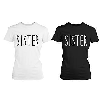 Söt matchande grafiska skjortor för systrar svart och vit bomull T-shirts