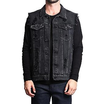 Homemiyn Men's Fit Retro Ripped Denim Vest Sleeveless Jean Vest And Jacket(S)(Black)