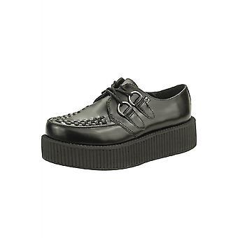 TUK Shoes Black Leather Viva Low Creeper