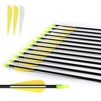 8mm Fiberglass Arrow With Plastic Feather And Nock Steel Arrowhead Recurve Bow, Practice Arrow Shooting Archery Bow And Arrow