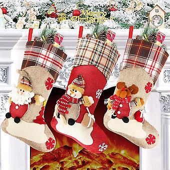 Sac-cadeau de chaussette de Noël sac-cadeau pour sac de pochette de bonbons d'ornement de Noël