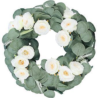 "18"" Farmhouse Wreaths Artificial Rose Summer Wreaths Eukalyptus Front Door Wreath"