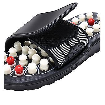 Une paire chaussures de massage des pieds Rotation pied Pantoufle Sandales relaxation Stress sain pour homme et femme Reflex