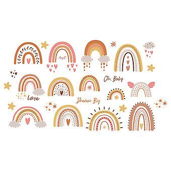 Cartoon Rainbow Baby Wall Sticker Decor (dimensioni: 55cm X 30cm)