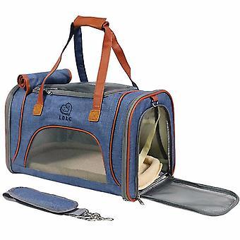 Portable And Portable Foldable Single-shoulder Pet Bag (blue)