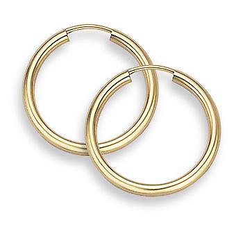 """14K Gold Hoop Earrings - 13/16"""" diameter (2mm thick)"""