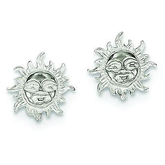 925 Sterling Silver Solid Polished Post Earrings Sun Mini for boys or girls Earrings - 1.5 Grams