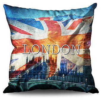 Clocktower Flag Country UK Linen Cushion 30cm x 30cm | Wellcoda