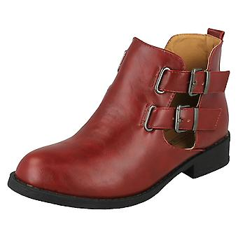 Ladies Spot On Cut Out Ankle Boot - Burgundy Synthetic - UK Size 5 - EU Size 38 - US Size 7