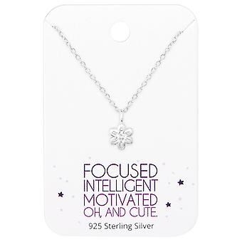 Collier Fleur sur motivation cite carte - jeux d'argent Sterling 925 - W36093x