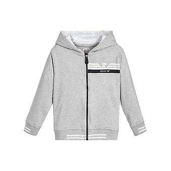 Armani Junior Grey Hooded Zip Top