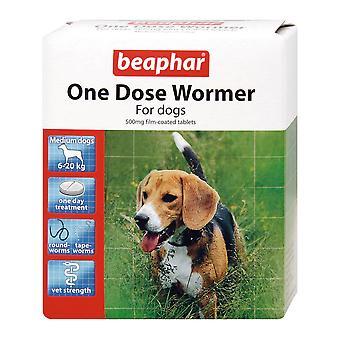 Beaphar één dosis Wormer voor middelgrote honden 2 tabletten Worm behandeling voor honden