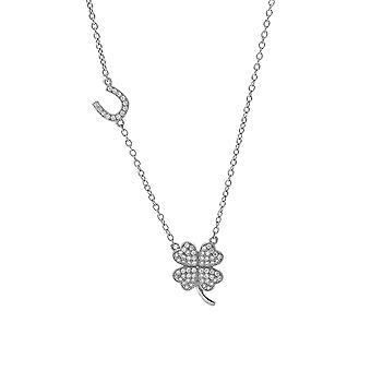 Orphelia halsband klöver med hästsko 925 Silver med zirkonium ZK-7364