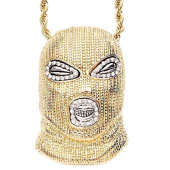 Iced Out Bling Hip Hop Kette - GANGSTER MASK gold