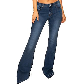 Wide Flared Jeans with Frayed Ends Very Long Leg