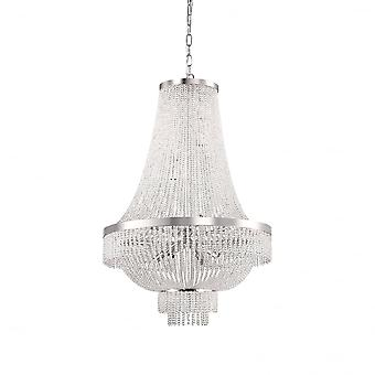 Ideale Lux August 12 lamp Chrome waterval Crystal kroonluchter
