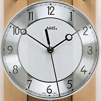 AMS wall clock 5259/18 radio with suspended solid back wall wood beech, aluminium