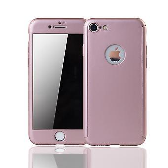 Apple iPhone 8 Caixa de proteção de caixa de telefone caixa completa tampa tanque proteção vidro rosa