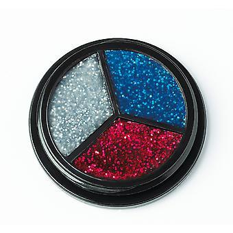 Trio glitter prata-vermelho-azul