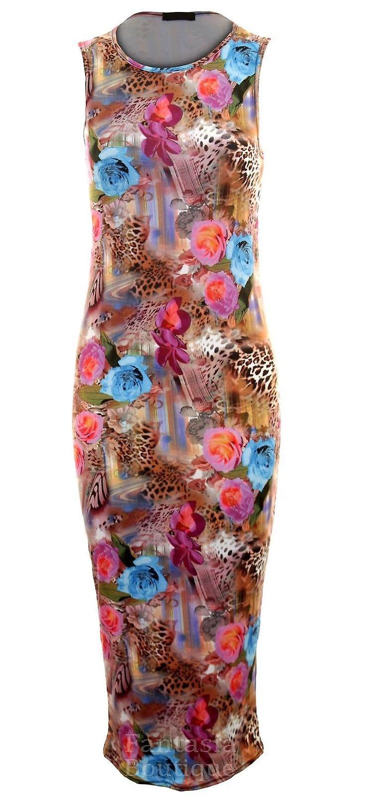 Ladies Multi Colour Leopard Rose Wave Midi Long Stretch Bodycon Women's Dress