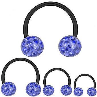 Cirkulär Barbell hästsko svart Titan 1, 6mm, Multi Crystal Ball Safir blå