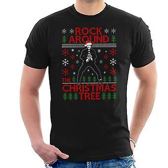 Elvis Presley Rock rond de kerstboom mannen T-Shirt