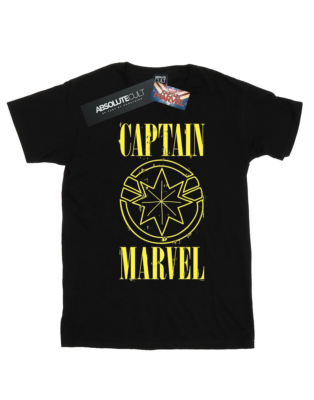 Marvel Girls Captain Marvel Grunge Logo T-Shirt