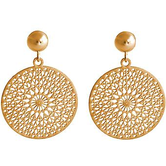 Gemshine ladies earrings yoga mandala circle silver, gold plated or rose 2.5 cm