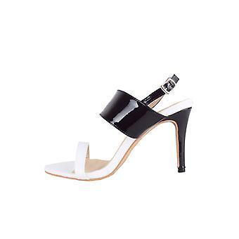 LMS sort & hvid Patent Sandal med midten af hælen