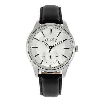 Simplify The 6600 Series Leather-Band Watch - Black/Silver