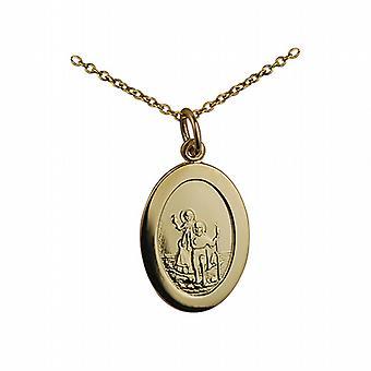 9ct goud 19x9mm vlakte ovale St Christopher Pendant met een kabel ketting 20 inch