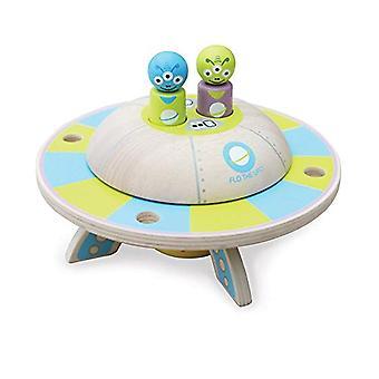 インディゴ Jamm Flo UFO、レトロな木製おもちゃ車回転ソーサーと取り外し可能な外国人乗客