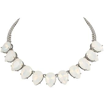 Eternal Collection Seduction Teardrop White Opal Crystal Silver Tone Fashion Necklace