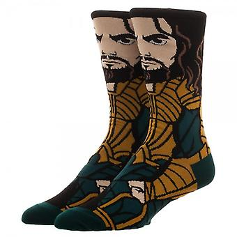 Crew Socks - Justice League - Aquaman 360 Character New Licensed cr5hbbjlm