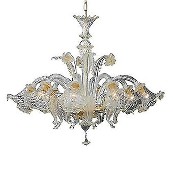 Ideal Lux - Rialto Amber Glass And Gold Metal Eight Light Chandelier IDL004099