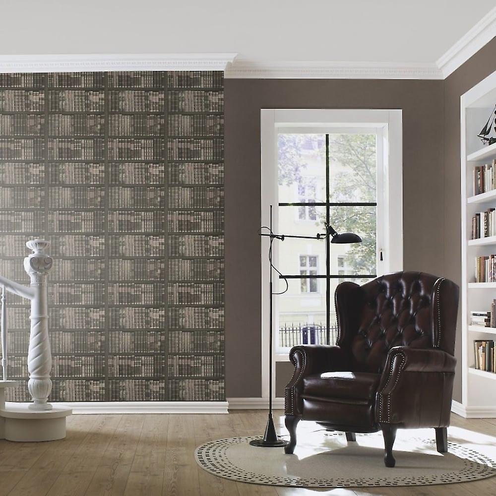 Rasch Book Shelf Pattern Wallpaper Books Case Library Faux Effect 525823