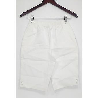 Denim & Co. Women's Shorts Classic Side Lace-Up Bermuda White A233552