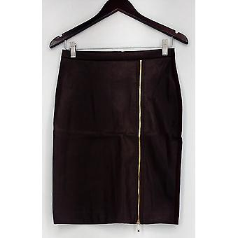 Marc Bouwer Skirt Full Zip Faux Leather Skirt With Lace Inset Brown A435753