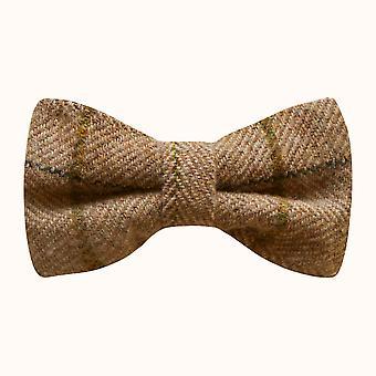 Luxe pinda bruin visgraat-Check strikje, Tweed