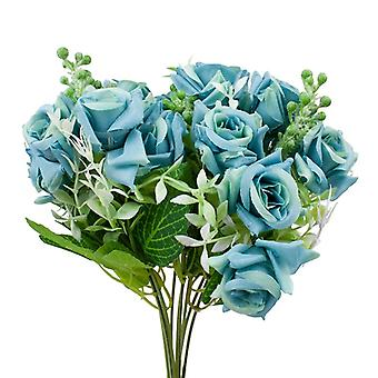 2-pack plastic floral bouquet, roses-blue