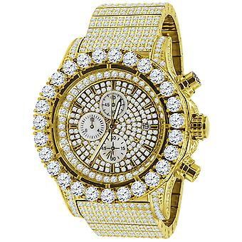 High Quality FULL ICED OUT Zirkonia Edelstahl Uhr - gold