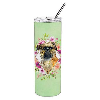Brussels Griffon Green Flowers Double Walled Stainless Steel 20 oz Skinny Tumble