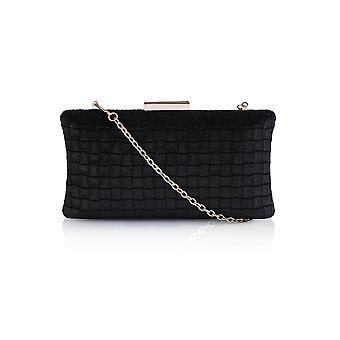 Velvet Textured Pattern Box Clutch Bag